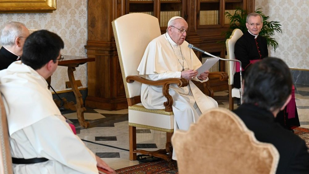 Pope Francis gives his catechesis during the weekly General Audience