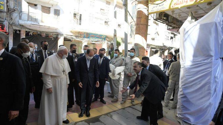 Pope Francis arrives for a courtesy visit with Grand Ayatollah Sayyid Ali Al-Husayni Al-Sistani
