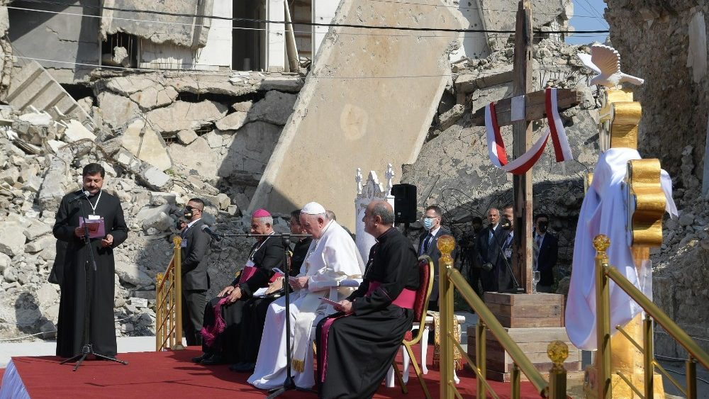 Pope Francis in Mosul, Iraq during his Apostolic Journey