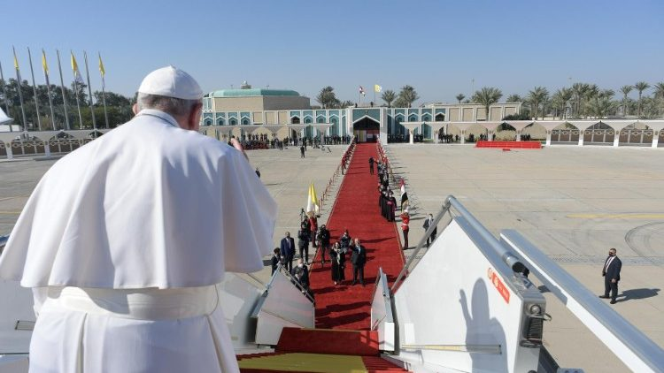 Pope Francis waves goodbye to Iraq