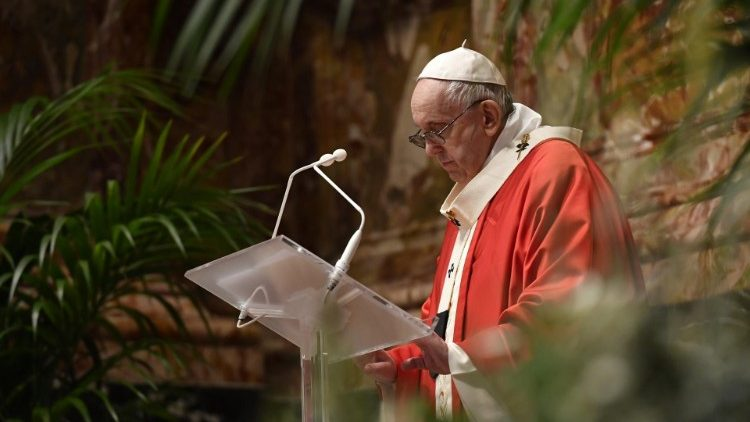 Pope Francis during his Palm Sunday Mass and Angelus