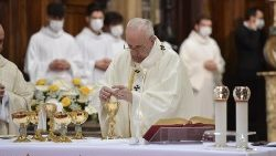 Pope Francis during Mass for Divine Mercy Sunday in the church of Santo Spirito in Sassia