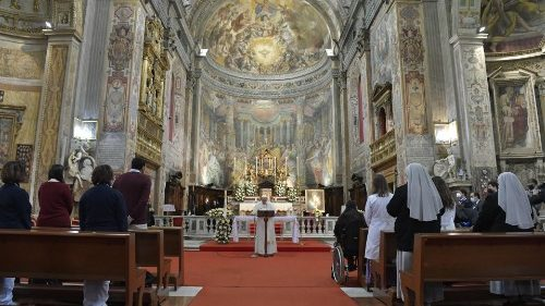 Pope Francis leads the faithful in the recitation of the Regina Coeli, following Mass in the Church of Santo Spirito in Sassia