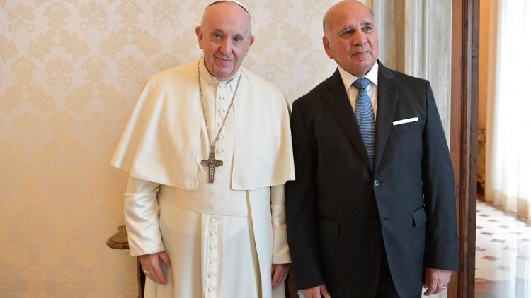 Pope Francis and Iraqi Foreign Affairs Minister, Fuad Hussein