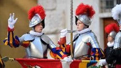 A new recruit swears his oath in the Pontifical Swiss Guard