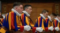 Swiss Guards at Mass in St Peter's on Thursday morning