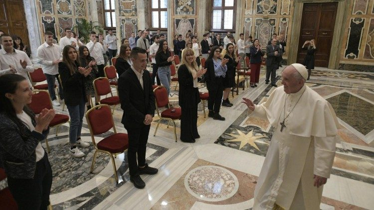 Pope Francis meets the staff and students of Ambrosoli Institute of Codogno, Italy, on May 22, 2021.