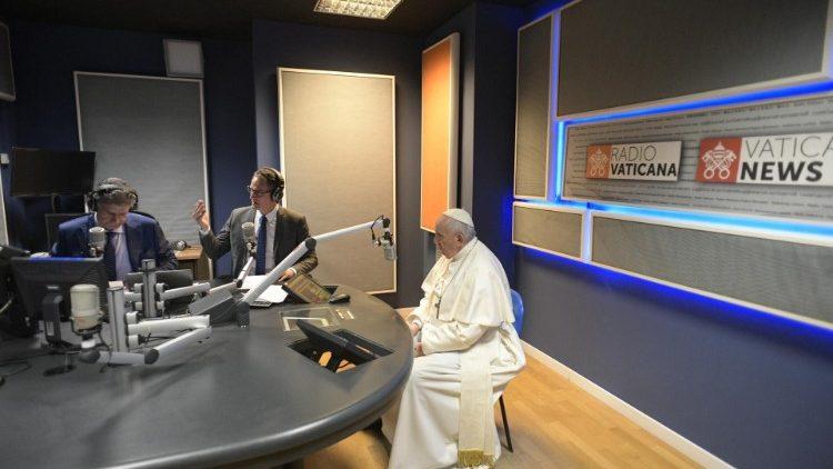 Pope Francis in the recording studio of Radio Vaticana Italia