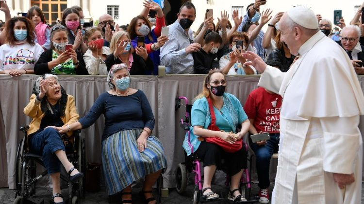 Pope Francis holds his weekly general audience at the Vatican on June 2, 2021.