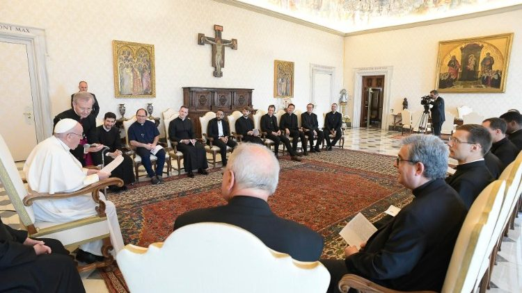 Pope Francis meets the community of Church of St. Louis of the French in Rome.