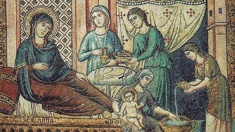 Mosaïque de la Nativité de la Bienheureuse Vierge Marie, Pietro Cavallini, 1291-1296.