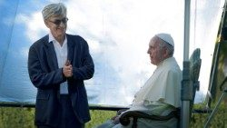Pope Francis and Director Wim Wenders on the film set