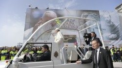 Pope Francis arriving at the Shrine of St Pio in San Giovanni Rotondo