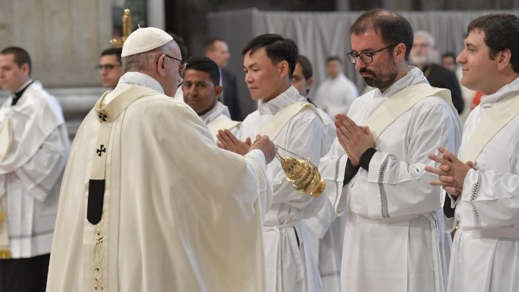 Pope Francis incenses deacons during the Mass of Ordination at St Peter's Basilica