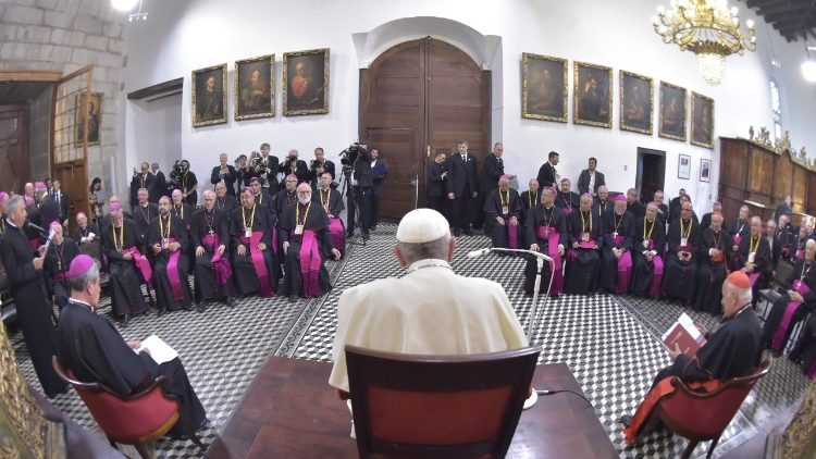 Pope Francis meeting Chilean bishops in Santiago, Chile on January 16, 2018.
