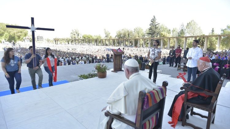Pope's meeting  with the youth of Chile at the Nationla Sanctuary of Maipu, Santiago, 17 January, 2018