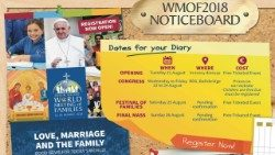 Noticeboard giving details of World Meeting of Families events.