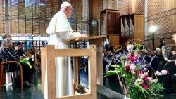 Pope Francis addressing ecumenical prayer service in Geneva