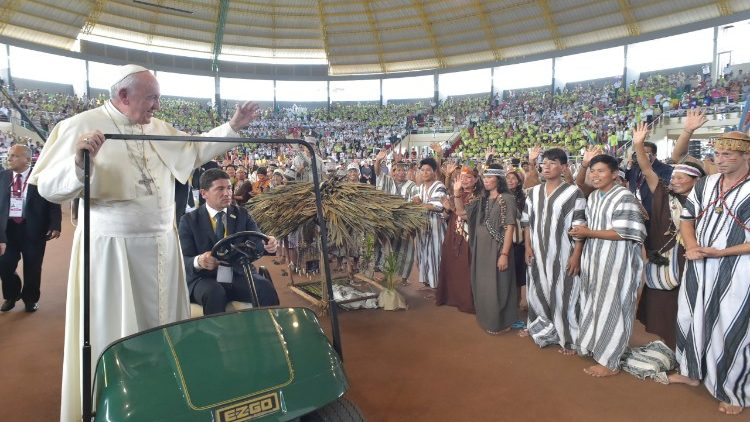 Pope Francis arrives at the Madre de Dios indoor stadium of Puerto Maldonado, Peru,  to meet indigenous people.