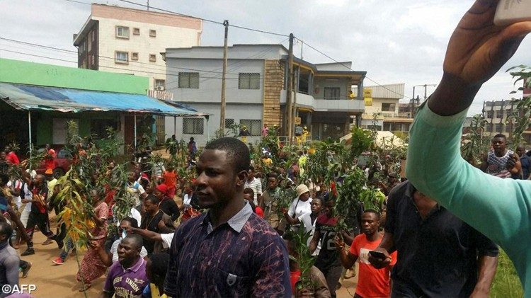 Eine Demonstration in Bamenda/Kamerun