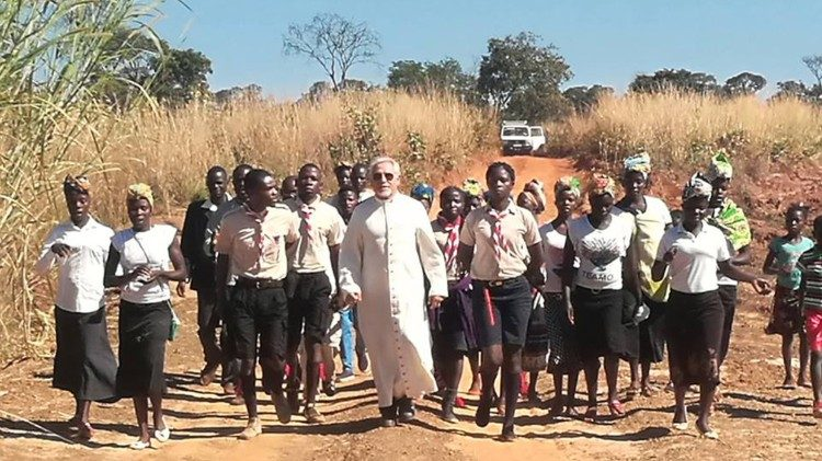 On a pastoral visit to one of the rural communities, Bishop Jesús Tirso Blanco of the Diocese of Lwena, Angola.
