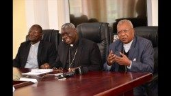 KCCB chairman Bishop Philip Anyolo (C), vice chairman Bishop John Owaa( and Cardinal John Njue (right) (photo credit: KCCB)