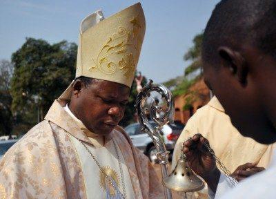Le cardinal Nzapalainga lors d'une messe à Bangui.