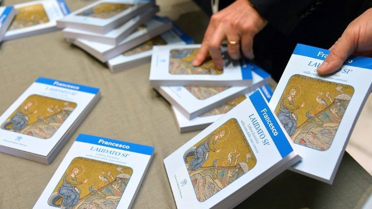 Printed copies of the Pope's encyclical Laudato Si'