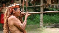 A Yagua tribeman demonstrating the use of blowgun, at one of the Amazonian islands near Iquitos, Peru