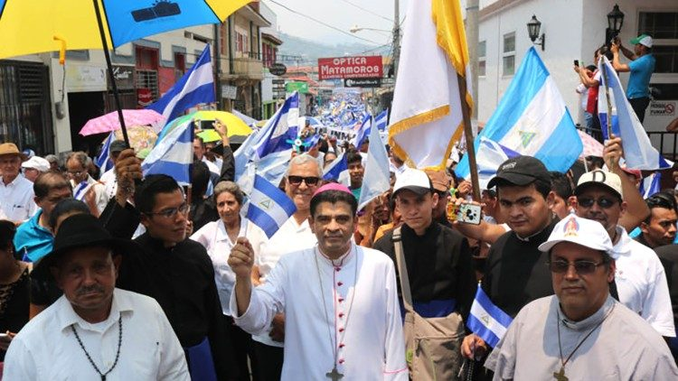 Participants march in a Pilgrimage for peace in Nicaragua in May