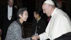 Pope Francis meeting Masaka Wada, a survivor of the atomic bombing of Nagasaki, Japan.