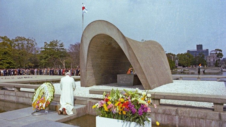 St. John Paul II praying at the Peace Memorial Park in Hiroshima, Japan , in 1981.