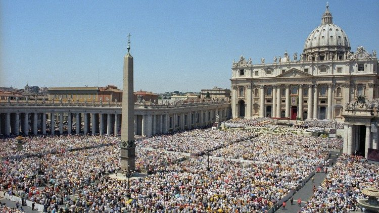 A public event in St. Peter's Square, Rome.