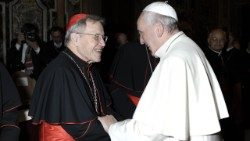 Cardinal Walter Kasper with Pope Francis