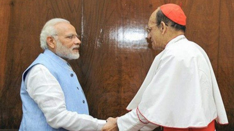 Cardinal Oswald Gracias met Indian Prime Minister Narendra Modi in New Delhi on March 20, 2018.
