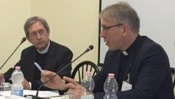 WCC General Secretary Rev. Fykse Tveit (right) and Secretary of the Vatican office for Integral Human Development Mgr Bruno-Marie Duffé: photo credit WCC/Marianne Ejdersten