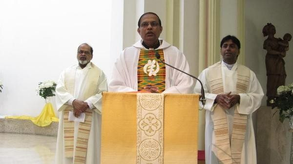 Bishop-designate Peter Paul Saldanha of Mangalore at Mass.