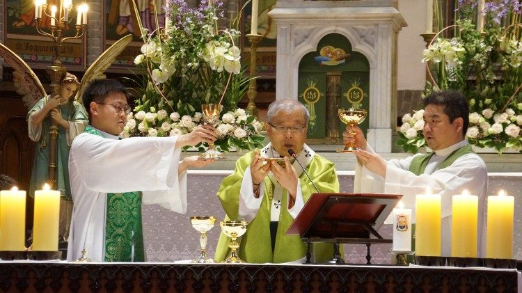 Korean Cardinal Andrew Yeom Soo-jung of Seoul celebrating the 'Mass for Peace and Reconciliation' in Myeongdong Cathedral on June 12, 2018.