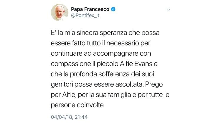 "Pope Francis' tweet in support of ""little Alfie Evans"" and his parents"
