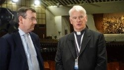 Francis Campbell and Bishop Noel Treanor during an interview with Vatican Radio