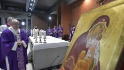 Pope Francis celebrates Mass at the Rome parish of San Gelasio