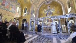 Pope Francis meets with the Ukrainian Greek-Catholic community at the Basilica Santa Sofia