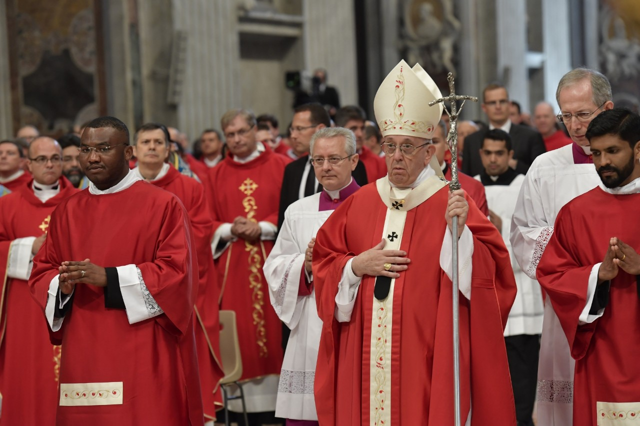Pope Francis enters St Peter's Basilica to preside over the Pentecost Sunday liturgy