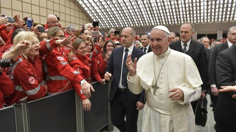 Italian Red Cross members attend an audience with Pope Francis in the Paul VI hall