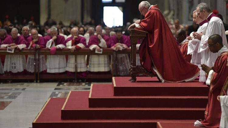 Pope Francis and the Curia during the Celebration of the Lord's Passion