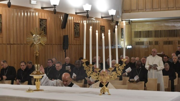 Pope Francis before the Blessed Sacrament during his spiritual exercises