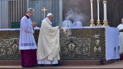 Pope Francis at Mass in the Roman parish of Our Lady of Bonaria in Ostia