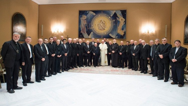 Pope Francis with the Bishops of Chile during their visit to Rome in May.