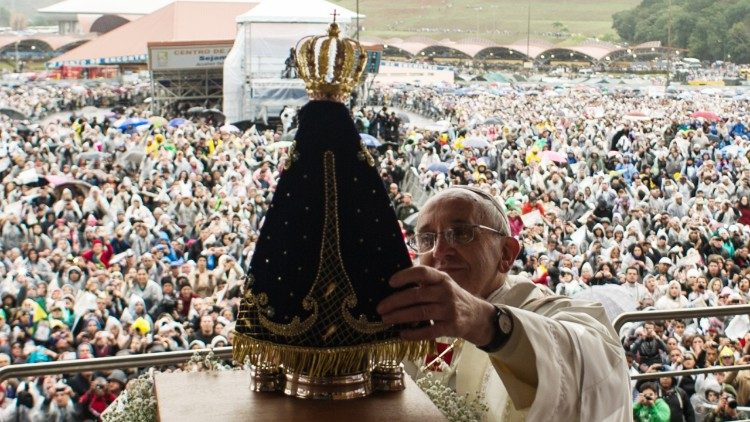 Pope Francis with Our Lady of Aparecida, Patron saint of Brasil