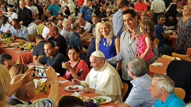 Pope dining with the poor and homeless of Rome on June 29.